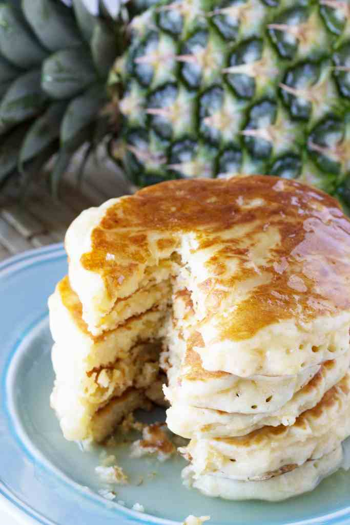 Pineapple Pancakes with Coconut Syrup - The Stay At Home Chef