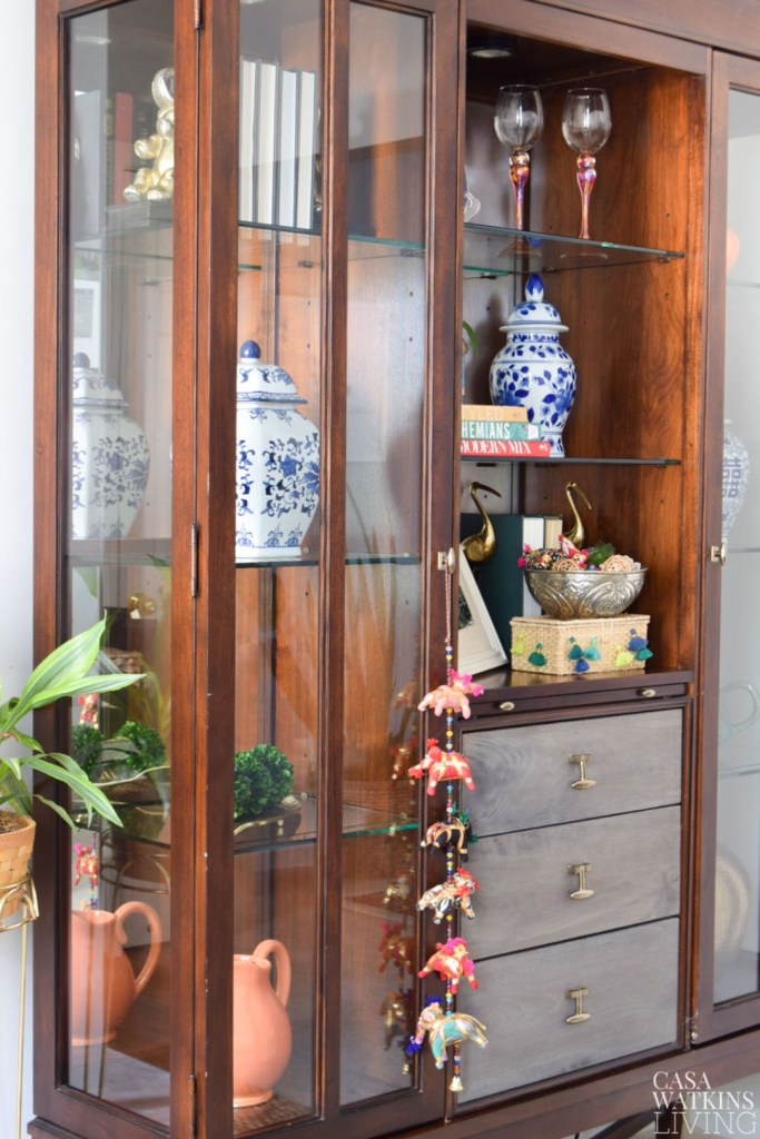 decorating cabinet with global style