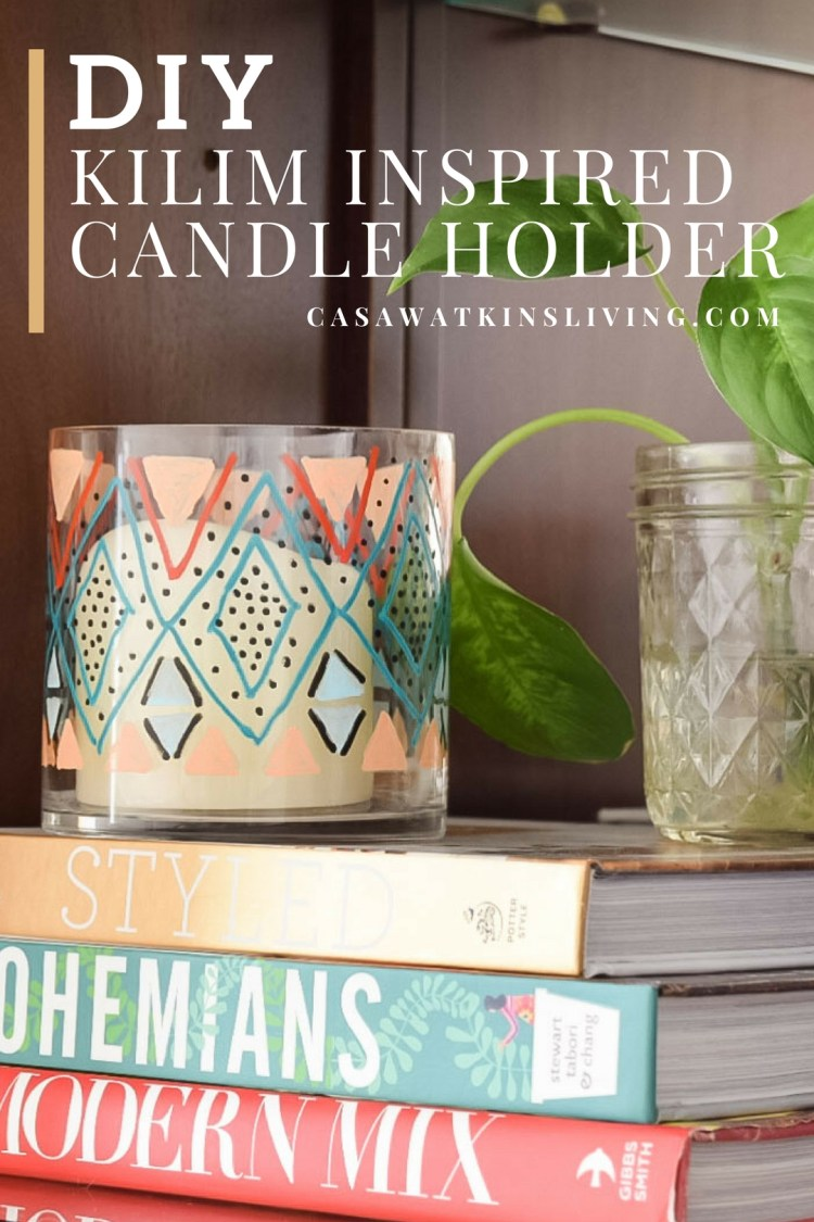 diy kilim pattern candle holder