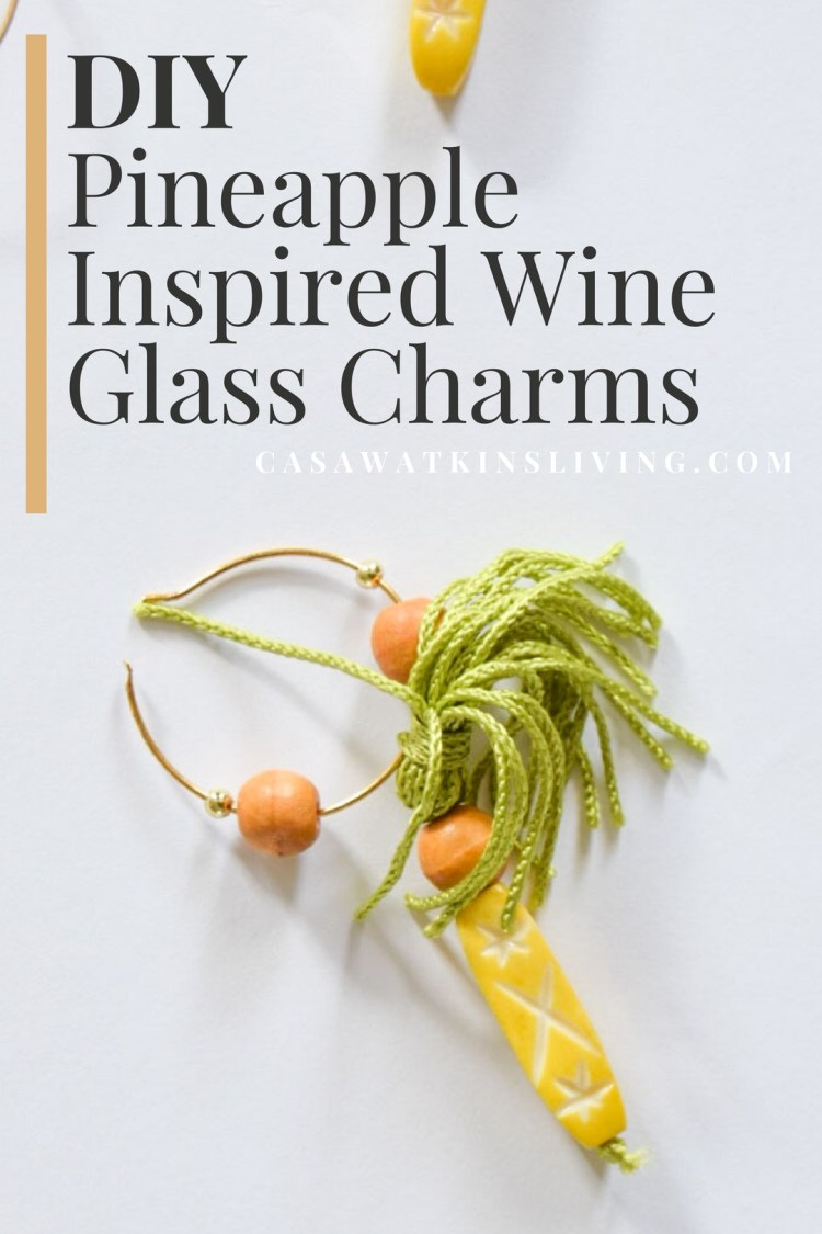 diy pineapple inspired wine glass charms