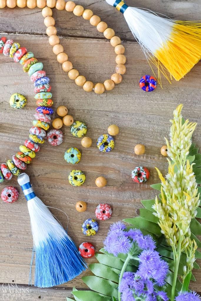 diy global style bead jar garland