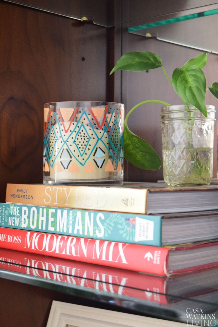 how to paint diy kilim inspired candle holder