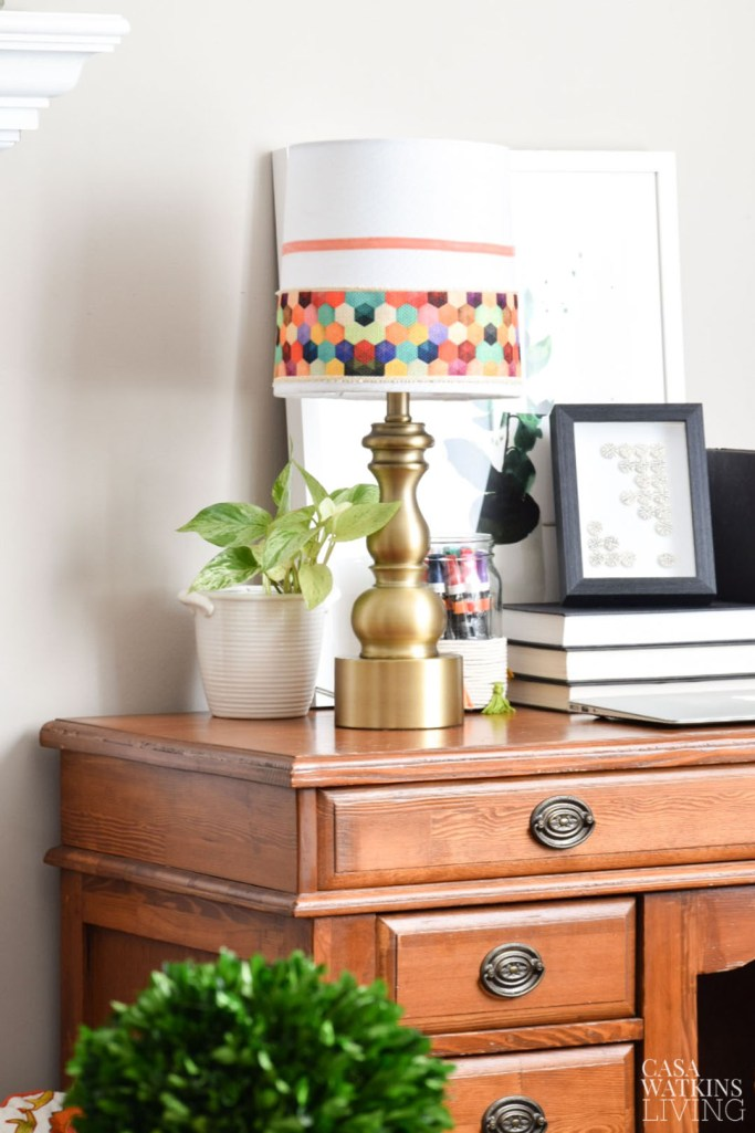 love this colorful boho chic lamp! Make using thrift store lamp