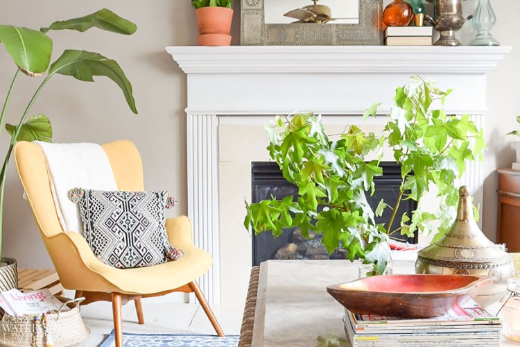 boho chic living room decorated for fall
