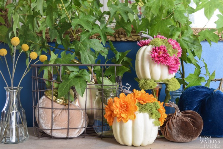 diy floral pumpkins with moss