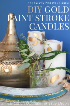 diy gold brush stroke painted candles