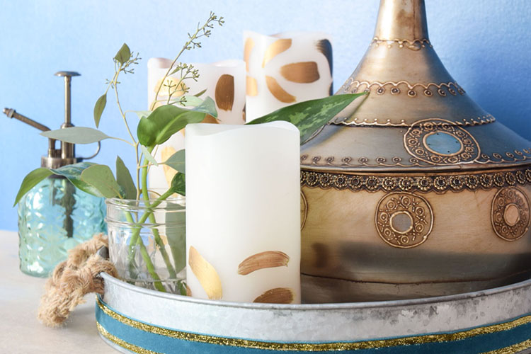 DIY Brush Stroke Painted Candles