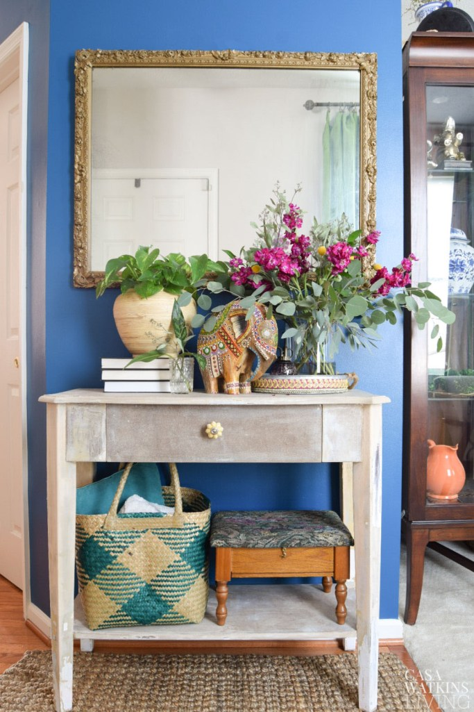 global boho style entryway fall decor