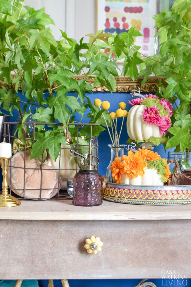 galvanized metal tray with diy pumpkins in global style entryway