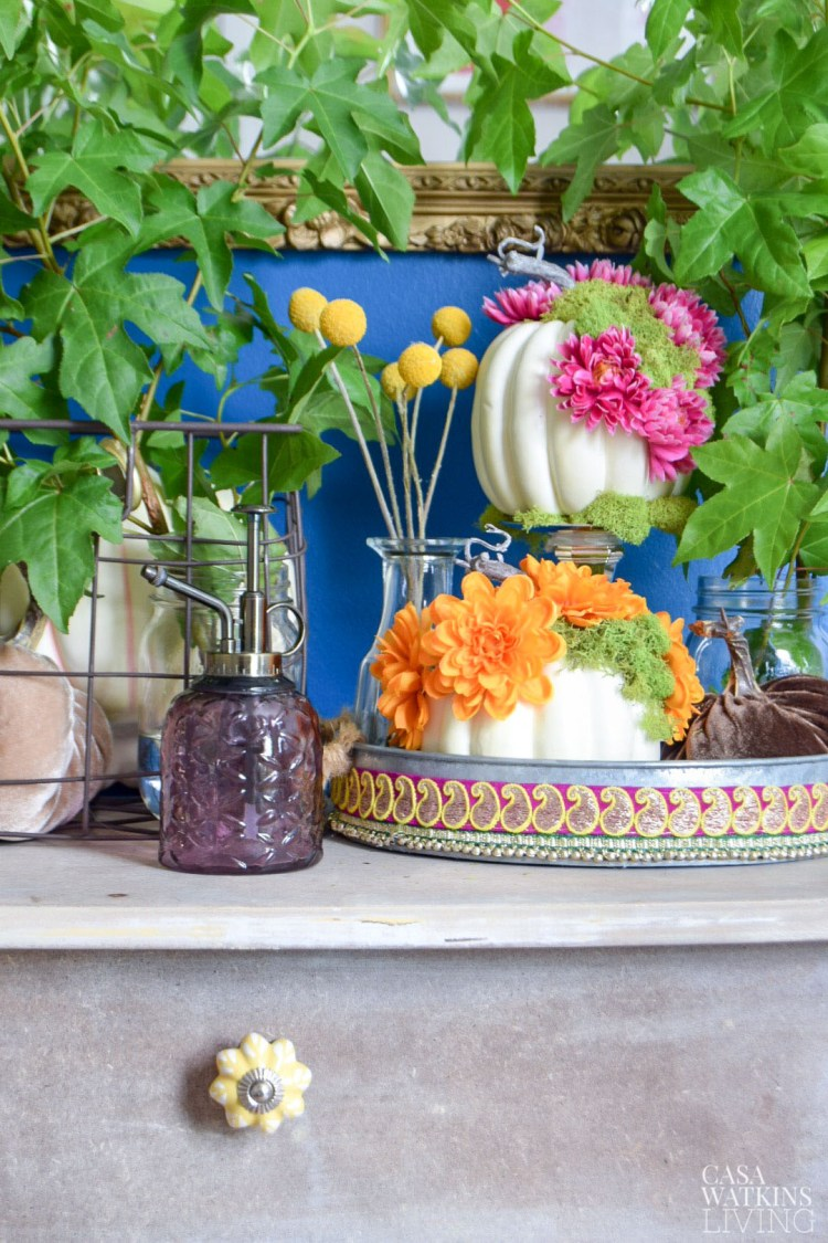 global style fall decorating ideas, floral pumpkins on galvanized tray