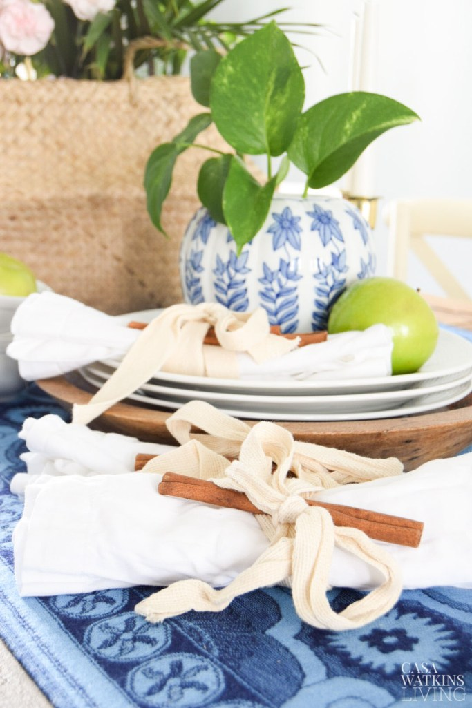 fall dining room boho style with cinnamon stick napkin rings