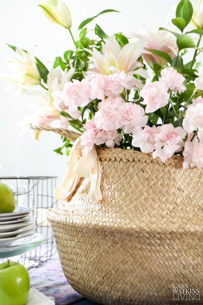 boho basket floral centerpiece