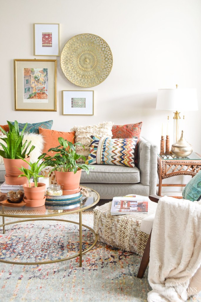 how to style boho pillows in boho living room
