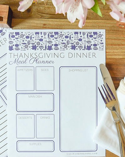Otomi Thanksgiving Menu Planner Printable