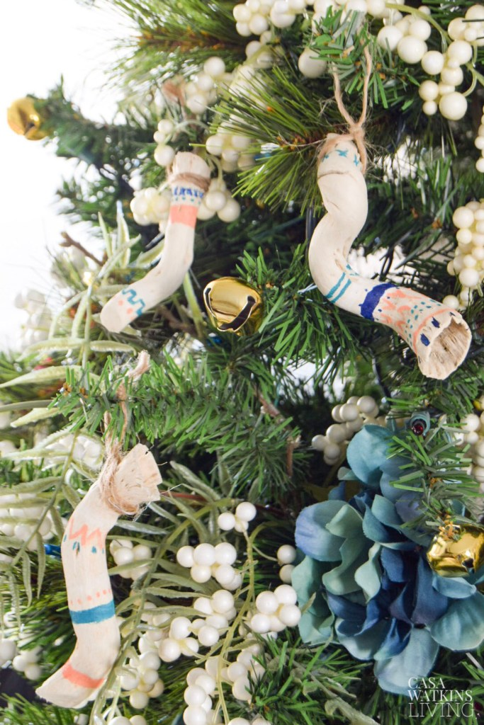 DIY Tribal Driftwood Ornaments, boho global style Christmas tree ornaments