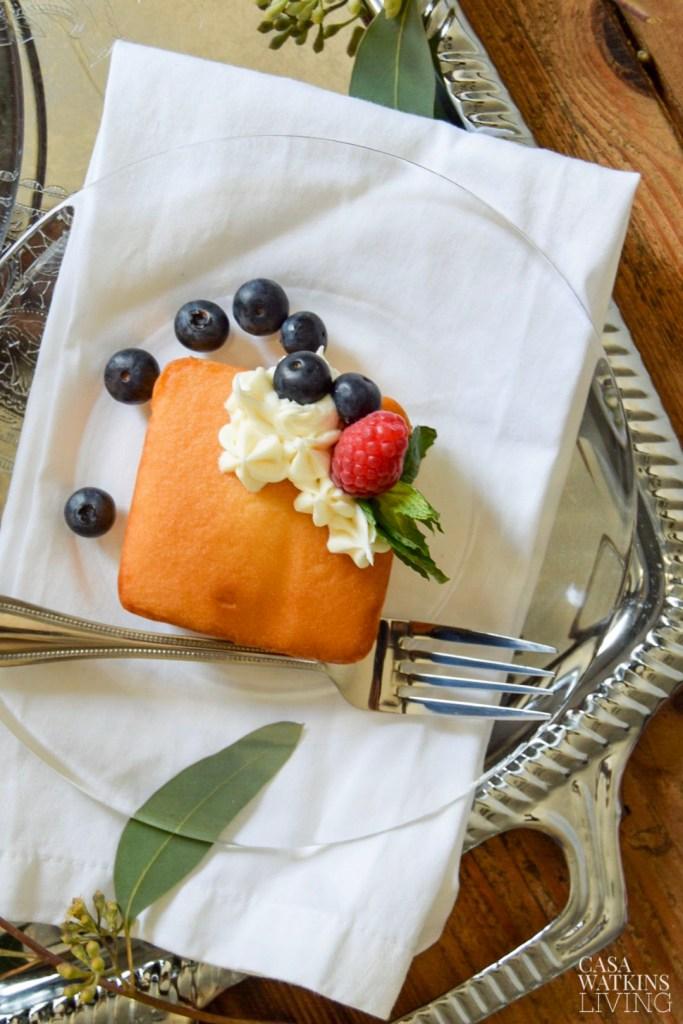 semi-homemade pound cake using packaged mini pound cakes!