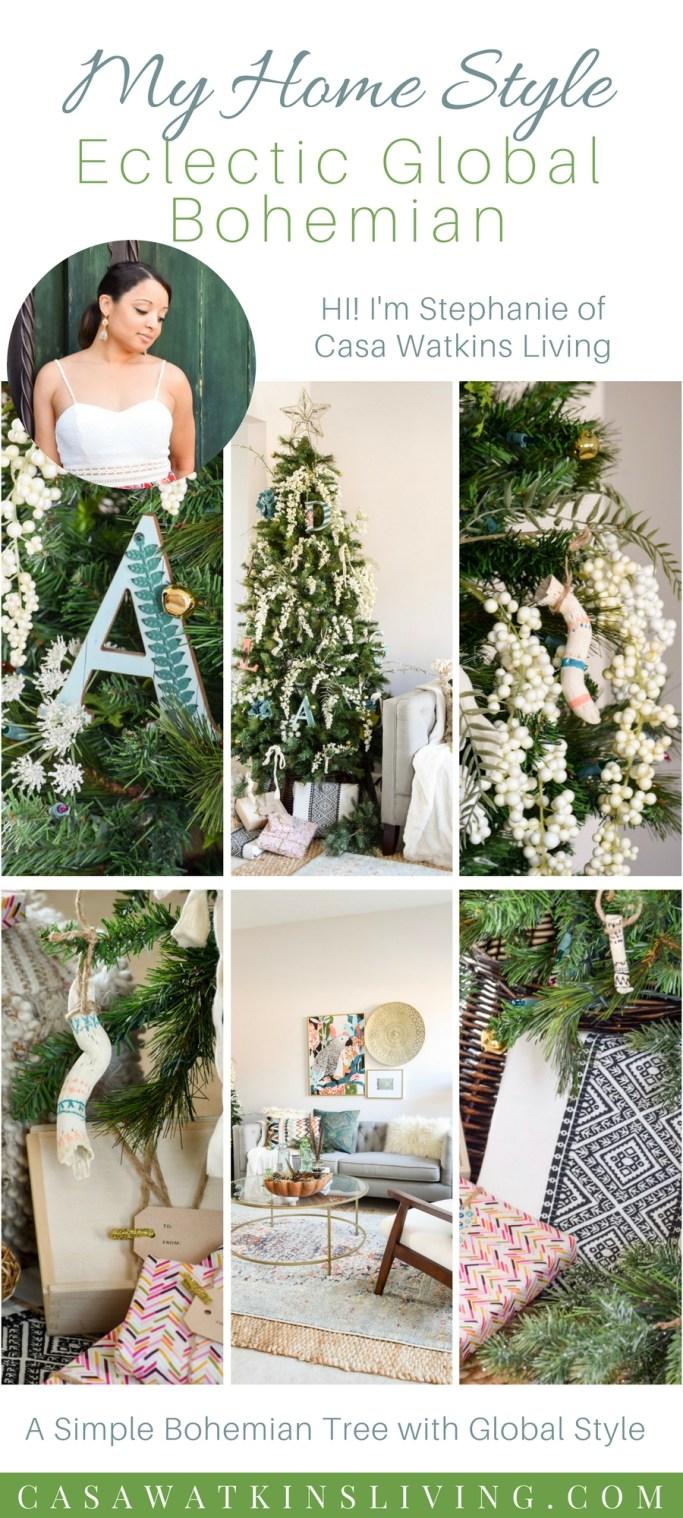 eclectic global bohemian christmas tree