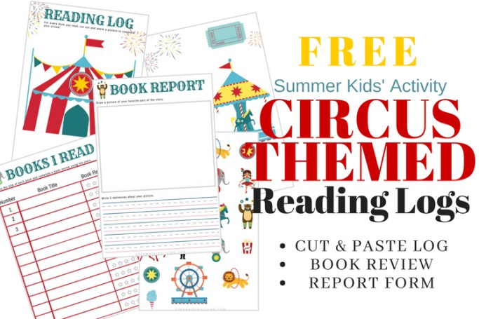 summer reading logs for kids in circus theme casa watkins living