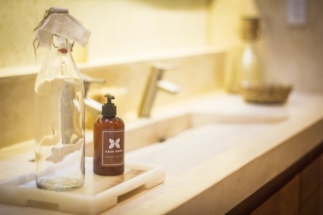 Eco-friendly and locally crafted Casa Xixim bath products for our special wetlands water system.