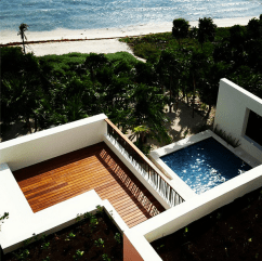 A bird's eye view of Casa Xixim and the beach.
