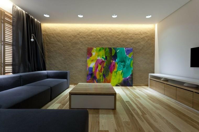 cuadro led madera sofa mesa cortinas
