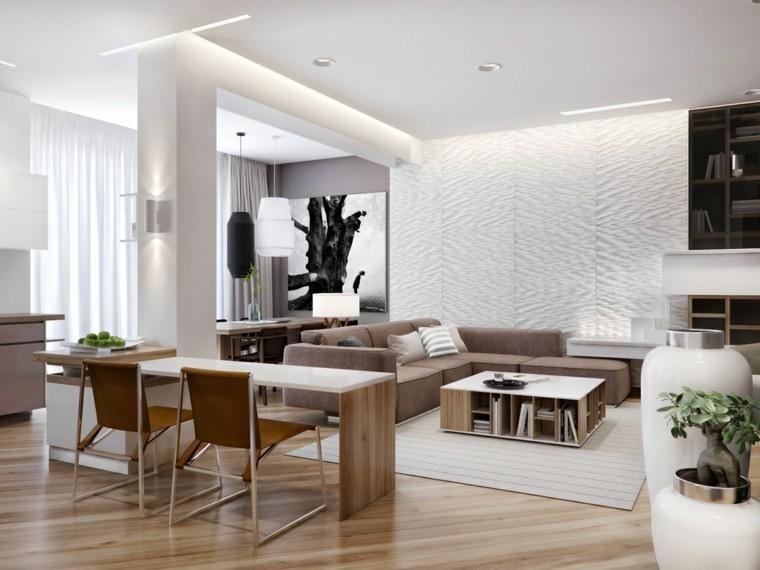 led blanco sillas plantas mesa