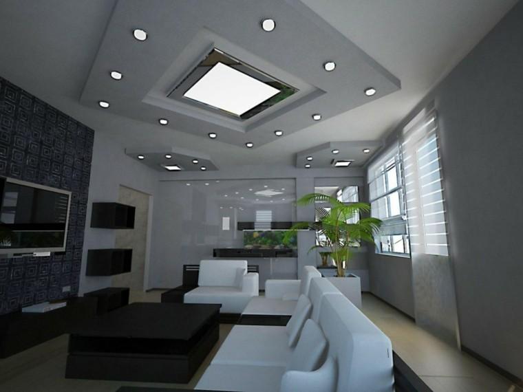 salon moderno led iluminacion plantas