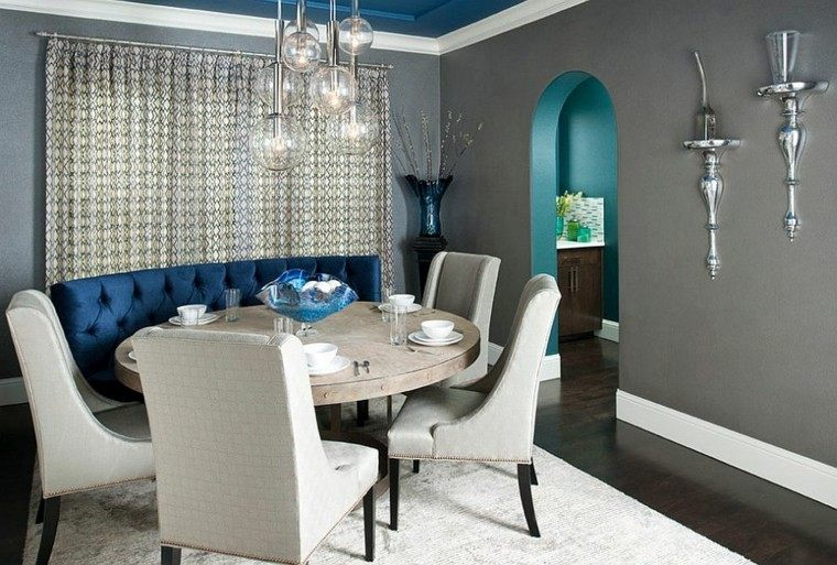 Decoracin de interiores y color  azul en comedores