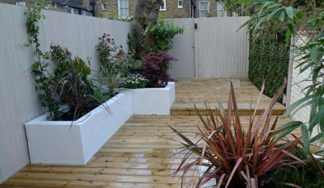 jardin patio plataforma madera teca
