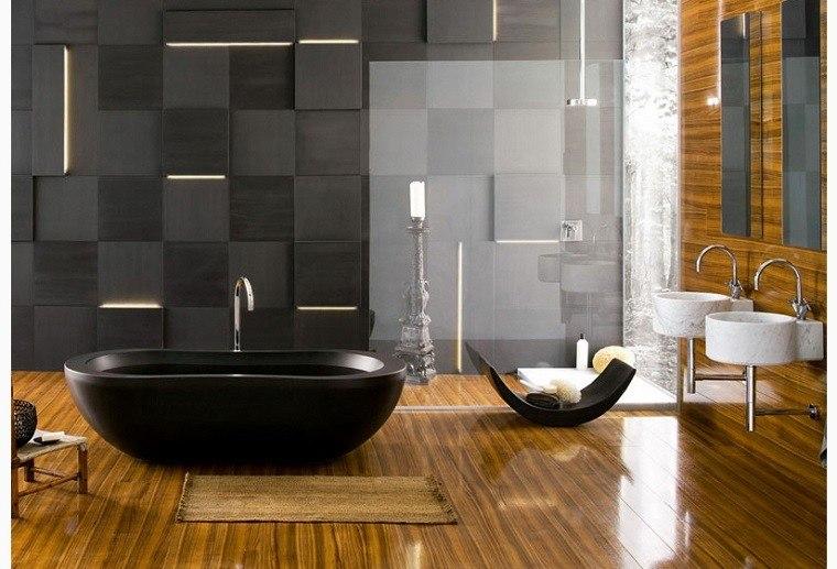 diseño de baños negro madera