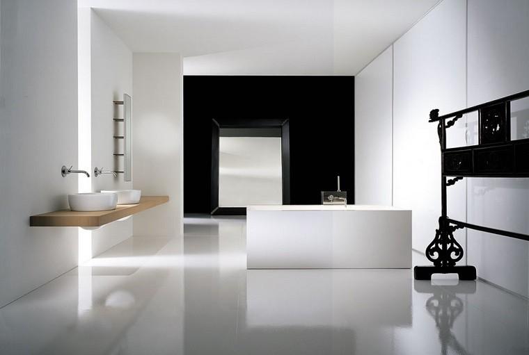diseño de baños blanco negro