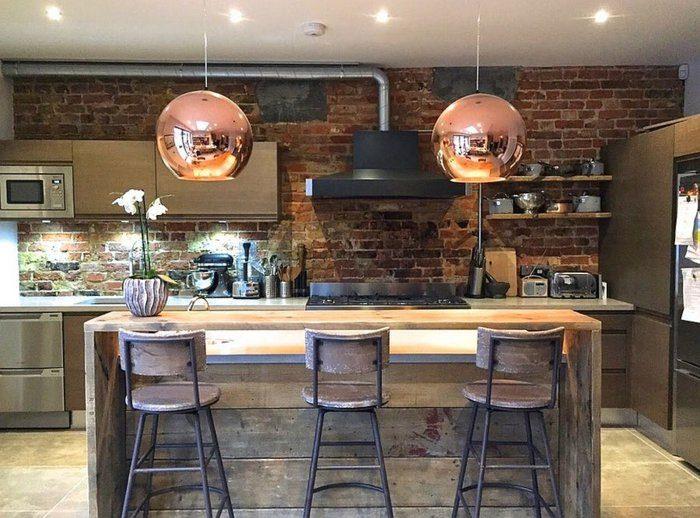 isla cocina diseño industrial madera