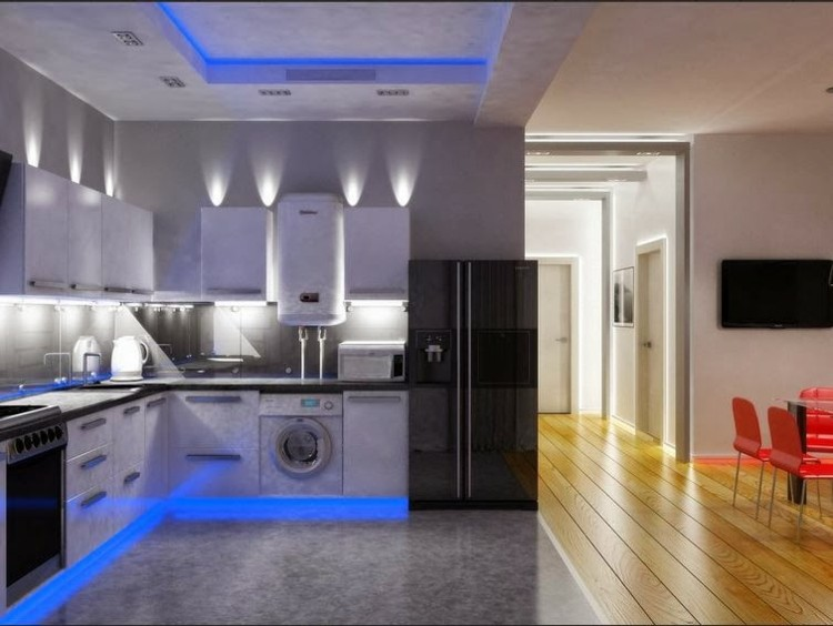 Techos modernos con luces Led integradas  50 ideas
