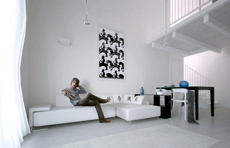 Color blanco para muebles y paredes en el saln