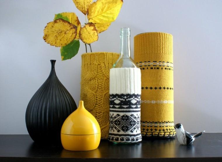 fundas  lana botellas vidrio flor
