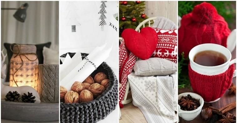 Adornos navideos tejidos de lana para decorar la casa