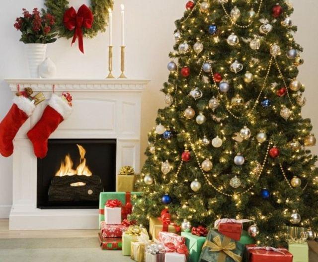 chimenea blanca arbol navidad grande