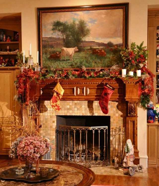 decorar chimenea adornos navideños