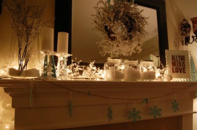 decoración navidad chimenea moderna