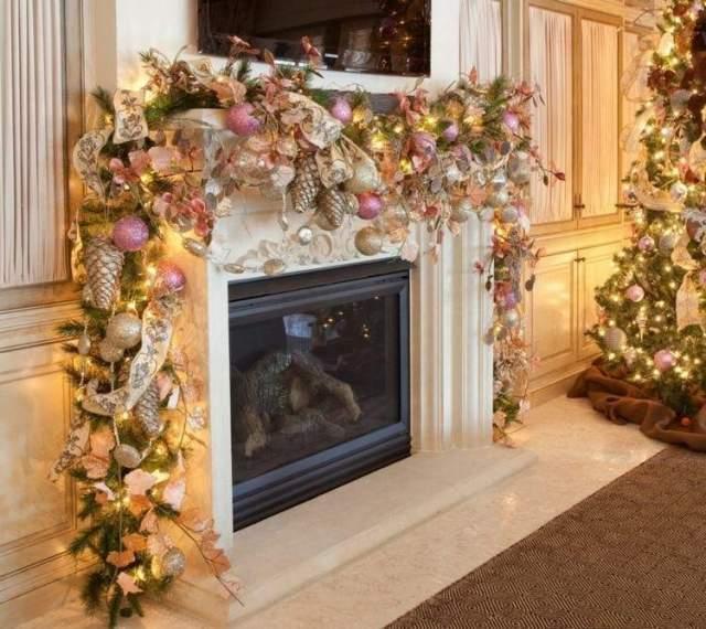 decoracion chimenea motivos navideños pomposos