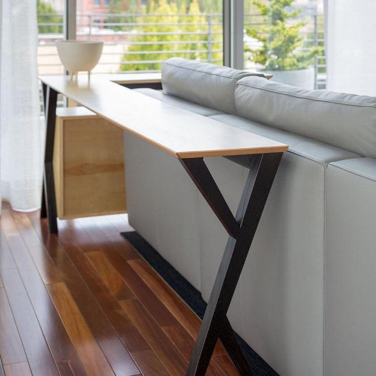 Mesas consolas detras del sof 35 ideas para el saln
