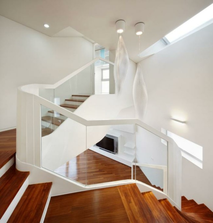 diseno de interiores escaleras de madera aluminio cristal ideas l
