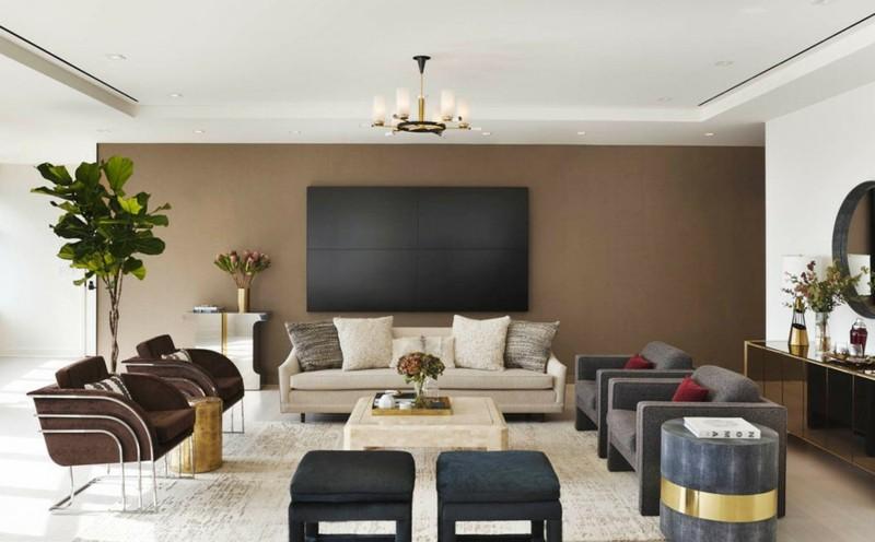 Salon moderno ideas de paredes de color marrn