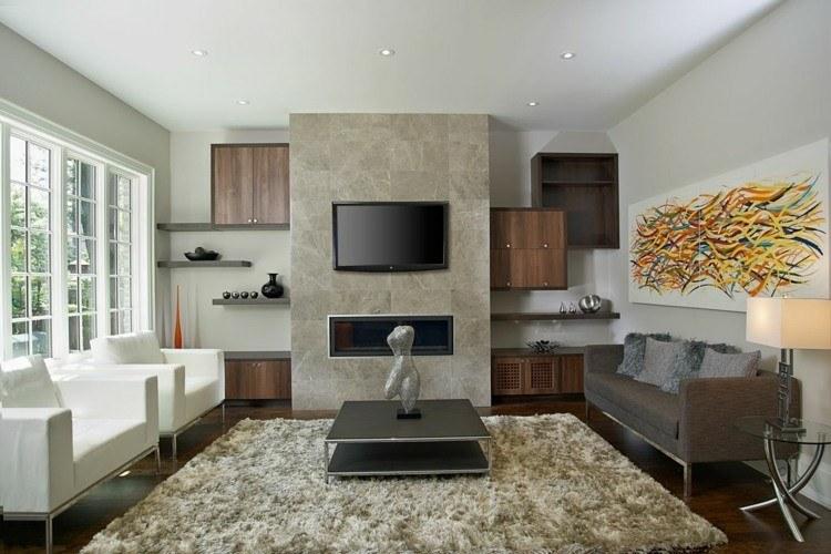 Chimeneas bioetanol y televisor integrado en la pared