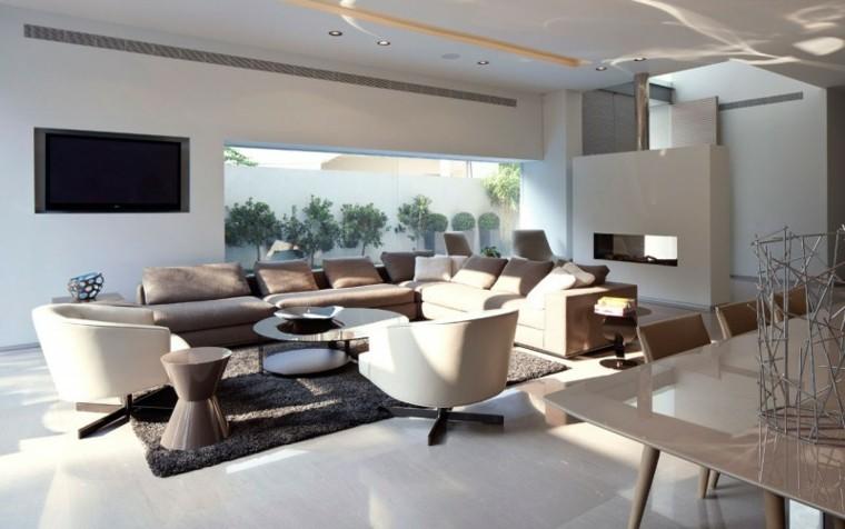 Chimeneas modernas ideas para salones modernos