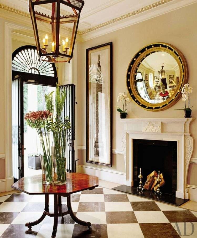 recibidores con encanto lujoso chimenea leña