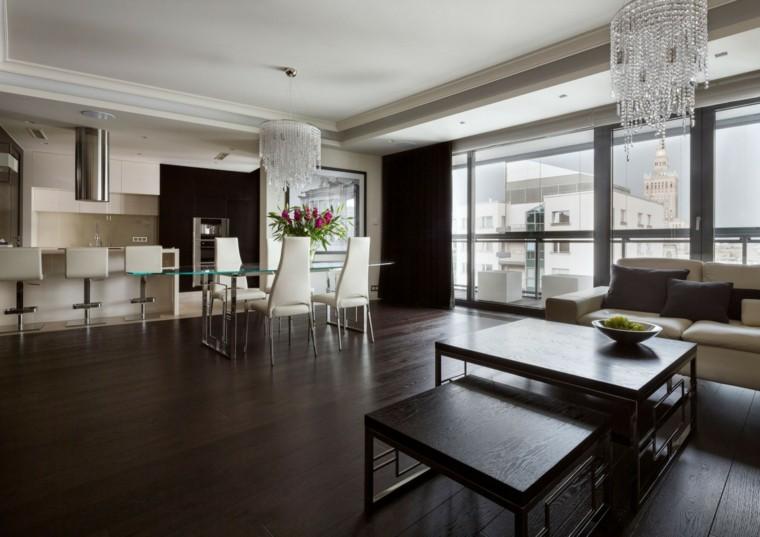 Decoracion salon moderno 50 diseos en blanco y madera