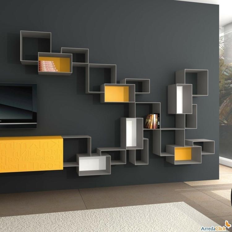 Muebles TV integrados con biblioteca  75 ideas modernas