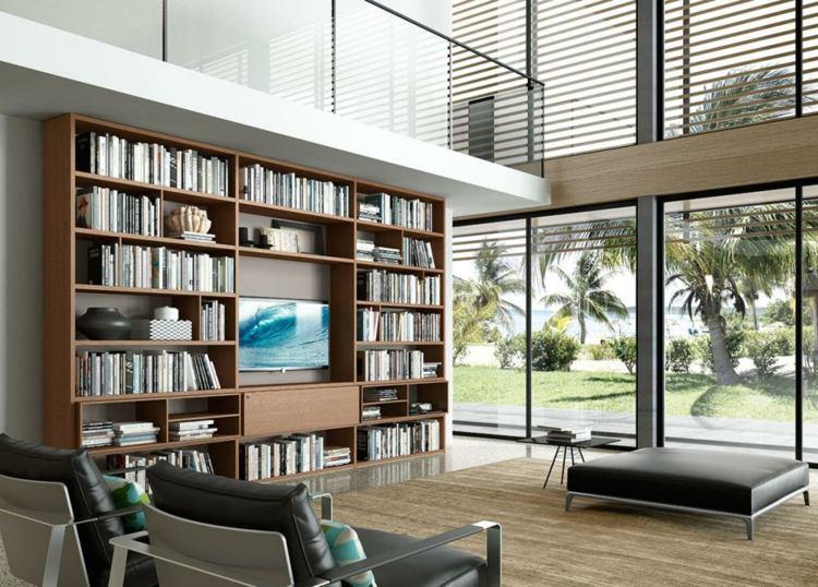 Mueble Biblioteca Con Puertas De Vidrio