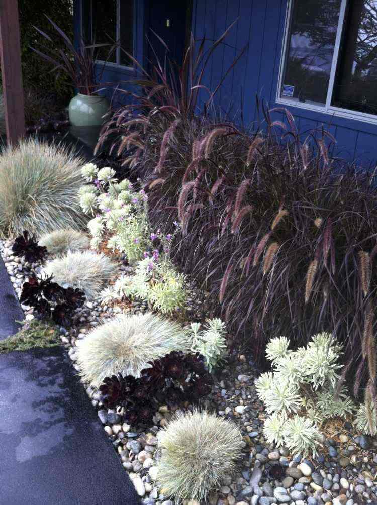 Grava y plantas para jardn  37 ideas paisajsticas modernas